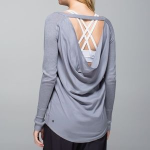 Lululemon Unity Sweater Pullover Open Back Grey 10